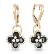 0.28ct Round Brilliant Cut Diamond & Black Enamel Dangling Flower Earrings in 14k Rose & White Gold