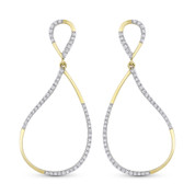 0.28ct Round Cut Diamond Pave Dangling Open Tear-Drop Earrings in 14k Yellow & White Gold