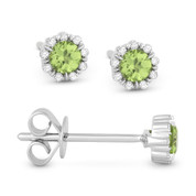 0.28ct Round Cut Peridot & Diamond Pave Baby Stud Earrings in 14k White Gold