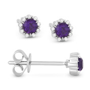0.28ct Round Cut Purple Amethyst & Diamond Pave Baby Stud Earrings in 14k White Gold