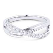 0.30ct Round Cut Diamond Overlap Loop Stackable Right-Hand Ring in 14k White Gold