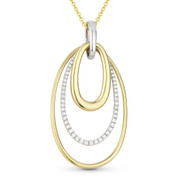 0.31ct Round Cut Diamond Pave Oval-Stack Pendant & Chain Necklace in 14k Yellow & White Gold