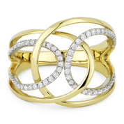 0.31ct Round Cut Diamond Right-Hand Overlap Loop Statement Ring in 14k Yellow & White Gold