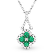 0.32ct Emerald Cluster & Diamond Pave Flower Charm Pendant & Chain Necklace in 14k White Gold