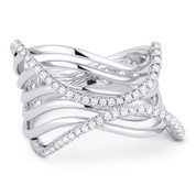 0.34ct Round Cut Diamond Pave Right-Hand Multi-Swirl Wrap Ring in 14k White Gold