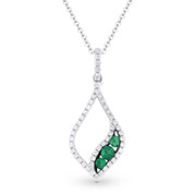 0.34ct Round Cut Emerald & Diamond Pave Pendant & Chain Necklace in 14k White & Black Gold