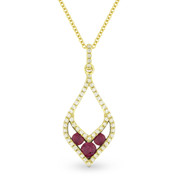 0.34ct Round Cut Ruby-Trio & Diamond Pave Pendant & Chain Necklace in 14k Yellow & Black Gold