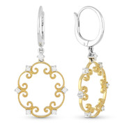0.34ct Round Cut Diamond Vintage-Style Filigree-Frame Dangling Earrings in 14k Yellow & White Gold