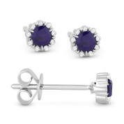 0.35ct Round Cut Lab-Created Blue Sapphire & Diamond Pave Baby Stud Earrings in 14k White Gold