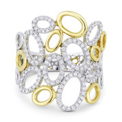 0.35ct Round Diamond Pave Oval-Cluster Right-Hand Fashion Ring in 14k Yellow & White Gold