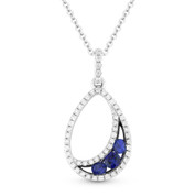 0.35ct Round Cut Sapphire & Diamond Pave Tear-Drop Pendant & Chain Necklace in 14k White & Black Gold