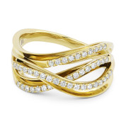 0.35ct Round Cut Diamond Right-Hand Overlap Loop Fashion Ring in 14k Yellow Gold