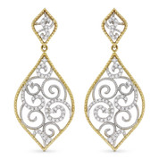 0.36ct Round Cut Diamond Pave Filigree-Detailed Dangling Earrings in 14k Yellow & White Gold
