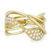 0.36ct Round Cut Diamond Pave Overlap Loop Right-Hand Statement Ring in 14k Yellow Gold
