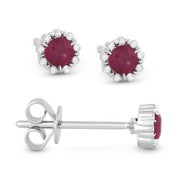 0.36ct Round Cut Ruby & Diamond Pave Baby Stud Earrings in 14k White Gold