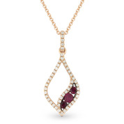 0.36ct Round Cut Ruby & Diamond Pave Pendant & Chain Necklace in 14k Rose & Black Gold