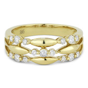0.37ct Round Cut Diamond Tri-Cluster Right-Hand Fashion Band in 14k Yellow Gold