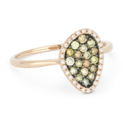 0.37ct Round Cut Fancy-Colored Diamond Right-Hand Pave Ring in 14k Rose & Black Gold
