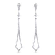 0.38ct Round Cut Diamond Pave Dangling Open Arrow-Stiletto Earrings w/ Pushbacks in 14k White Gold