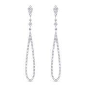 0.39ct Round Cut Diamond Pave Dangling Open Tear-Drop Earrings w/ Pushbacks in 14k White Gold