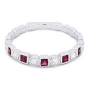 0.39ct Ruby & Diamond Bezel & Square Setting Stackable Anniversary Ring / Wedding Band in 18k White Gold