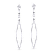 0.40ct Round Cut Diamond Pave Dangling Open Arrow-Stiletto Earrings w/ Pushbacks in 14k White Gold