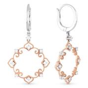 0.42ct Round Cut Diamond Vintage-Style Filigree-Frame Dangling Earrings in 14k Rose & White Gold