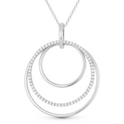 0.43ct Diamond Pave Eternity & Plain Circle Statement Pendant & Chain Necklace in 14k White Gold