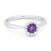 0.43ct Round Brilliant Cut Purple Amethyst & Diamond Halo Promise Ring in 14k White Gold