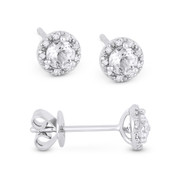 0.43ct Round Brilliant Cut White Topaz & Diamond 3-Prong 5.5mm Halo Stud Earrings in 14k White Gold