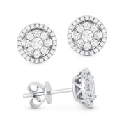 0.49ct Round Brilliant Cut Diamond Cluster & Halo Stud Earrings in 14k White Gold