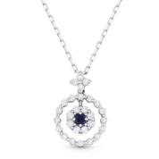0.50ct Princess Cut Sapphire & Round Brilliant Diamond Pendant in 18k White Gold w/ 14k Chain Necklace