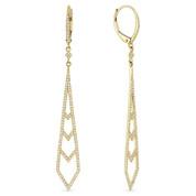 0.52ct Round Cut Diamond Pave Dangling Open Stiletto-Ladder Earrings w/ Leverbacks in 14k Yellow Gold
