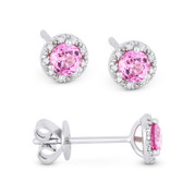 0.53ct Round Brilliant Cut Lab-Created Pink Sapphire & Diamond 3-Prong 5.5mm Halo Stud Earrings in 14k White Gold