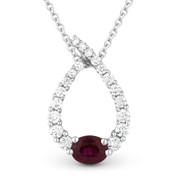 0.55ct Ruby & Diamond Water Drop Charm Journey Pendant & Chain Necklace in 14k White Gold