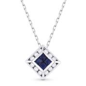 0.58ct Princess Cut Sapphire & Round Diamond Pendant in 18k White Gold w/ 14k Chain Necklace