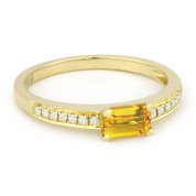 0.59ct Baguette Cut Citrine & Round Diamond Promise Ring in 14k Yellow Gold