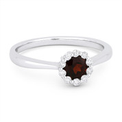 0.61ct Round Brilliant Cut Garnet & Diamond Halo Promise Ring in 14k White Gold
