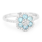 0.63ct Round Cut Blue Topaz & Diamond Pave Right-Hand Flower Ring in 14k White Gold