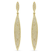 0.64ct Round Cut Diamond Pave Leaf-Charm Drop Earrings in 14k Yellow Gold