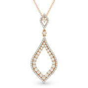 0.65ct Round Cut Diamond Pave Marquise-Shaped Stiletto Pendant & Chain Necklace in 14k Rose & White Gold
