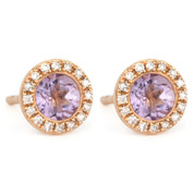 1.02ct Round Brilliant Cut Pink Amethyst & Diamond Martini Stud Earrings in 14k Rose Gold