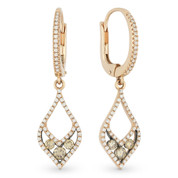 0.68ct Round Cut Brown & White Diamond Pave Dangling Earrings in 14k Rose & Black Gold