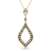 0.70ct Brown & White Diamond Pave Marquise-Shaped Stiletto Pendant & Chain Necklace in 14k Rose & Black Gold