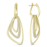 0.70ct Round Cut Diamond Pave Open-Design-Stack Drop Earrings in 14k Yellow Gold
