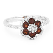 0.70ct Round Cut Garnet & Diamond Pave Right-Hand Flower Ring in 14k White Gold