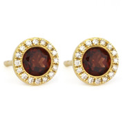 1.27ct Round Brilliant Cut Garnet & Diamond Martini Stud Earrings in 14k Yellow Gold