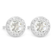 1.29ct Round Brilliant Cut White Topaz & Diamond Martini Stud Earrings in 14k White Gold