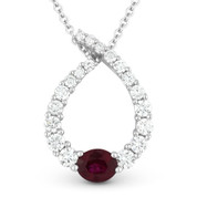 0.91ct Ruby & Diamond Water Drop Charm Journey Pendant in 18k White Gold w/ 14k Chain Necklace