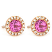 1.53ct Round Brilliant Cut Lab-Created Pink Sapphire & Diamond Martini Stud Earrings in 14k Rose Gold